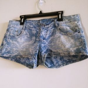 Mossimo Woman White LaceLight Blue Short Shorts 6